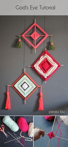 rombos decorativos con lana y dos palos chinos.