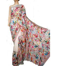 White Bird Silk Kantha Work Saree