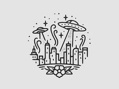 UFO Attack illustration by Liam Ashurst space ship city Doodle Drawings, Easy Drawings, Doodle Art, Drawing Sketches, Cute Little Drawings, Drawing Designs, Cute Doodles, Random Doodles, Simple Doodles