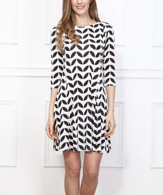 Another great find on #zulily! Black & White Geo Leaf Shift Dress #zulilyfinds