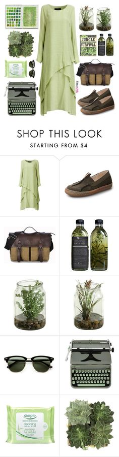 """""""NewChic #1"""" by oliverab ❤ liked on Polyvore featuring Ray-Ban, Hermès, Simple, Jayson Home, GREEN, safari, jungle, newchic, lovenewchic and plus size dresses"""