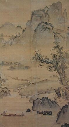 a geographical picture of hills and waters   山水圖 산수도 (15C) - Kang, Hee An