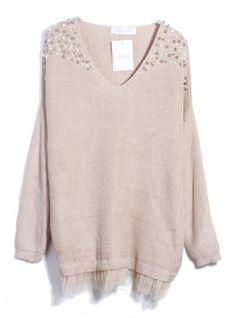 V Neck Long Sleeve Beige Sweater$42.00