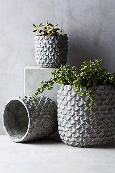 Scalloped Cement Pot - anthropologie.com