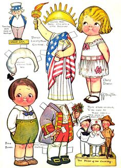 Vintage 4th of July 'Dolly Dingle' paper dolls by Grace Drayton, who also created 'The Campbell Soup Kids'!