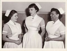 Canadian Nursing Students in 1950 at Children's Hospital School of Nursing in Halifax, Nova Scotia  The Children's Hospital School of Nursing, specializing in pediatrics, was established in 1916. The school offered a three-year professional nursing course and prepared young women to qualify for any branch of nursing after graduation. It was also the first school of nursing in Eastern Canada to accept an African-Canadian student in 1945. Most nursing schools would not accept married women.