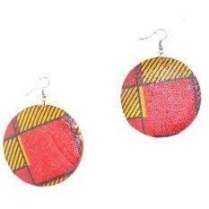 Red Ankara African Fabric Cover Earrings