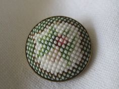 ANTIQUE Painted Flower Dotted White Milk Glass in Metal by abandc