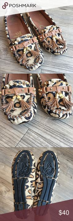 Sam Edelman Jalen Cheetah Moccasin Flat Loafers Pre loved Sam Edelman Jalen Loafers. These flats are leather and have cheetah print hair on outside. Size 5M - tassels on front. Great condition. Please see all photos. Nonsmoking home. No trades. Quick ship. Sam Edelman Shoes Flats & Loafers