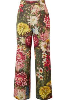 Gucci - Floral-print Wool And Mohair-blend Wide-leg Pants - Green Floral Wide Leg Trousers, Red Wide Leg Pants, Red Trousers, Green Pants, Moda Floral, Floral Print Pants, Printed Pants, Polka Dot Pants, Outfit Designer
