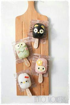 Hello Kitty characters, onigiri, rice ball; Anime Food
