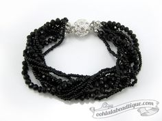 Black Multi strand Crystal bracelet black by OohlalaBeadtique