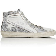 Golden Goose Women's Slide Leather & Glitter Sneakers ($545) ❤ liked on Polyvore featuring shoes, sneakers, glitter high tops, hi tops, distressed sneaker, glitter sneakers and glitter high top sneakers