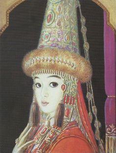 Image result for рисунок кыргызской девушки
