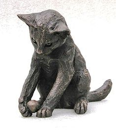 """William"" Playing Kitten by Suzie Marsh Bronze Resin, Made in the UK… Pottery Animals, Ceramic Animals, Clay Animals, Animal Statues, Animal Sculptures, Sphinx, Inspiration Artistique, Clay Cats, Cat Statue"