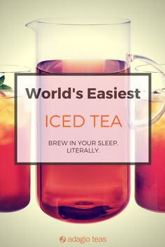 Adagio's Iced Pouches brew overnight in a pitcher of cold water. Wake up to perfectly brewed iced tea.