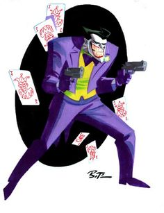 The Joker by Bruce Timm (cartoon voice of Mark Hamill). I remember watching this guy as a kid. Comic Book Artists, Comic Book Characters, Comic Books Art, Comic Art, Bruce Timm, Joker Batman, Joker Cartoon, Gotham Batman, Batman Robin