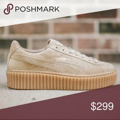 Rihanna x Fenty Oatmeal Suede Creepers This pair comes crafted with premium suede across the entire upper. It makes for a durable sneak that should keep you protected against all the elements. An oatmeal colourway gives this pair that stand-out curb appeal while subtle branding features to the tongue and side wall. Tonal laces are included and perforated detailing adds some brethability to the side wall. Send reasonable offers privately .new in box. No trades. Puma Shoes Sneakers