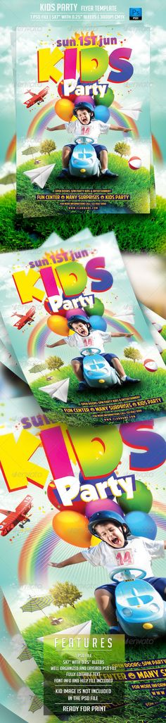 Kids Party Flyer Template — Photoshop PSD #games #club kids • Available here → https://graphicriver.net/item/kids-party-flyer-template/7747231?ref=pxcr