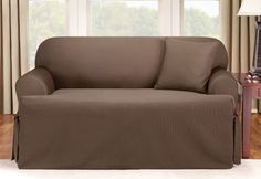 SureFit Logan One-Piece T-Cushion slipcover, chocolate, $69.99 (or sand, natural... other colors..)