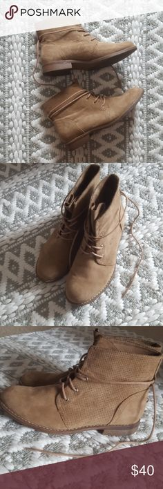 Trendy Boots!! Stylish dark tan ankle boots. Bought in Germany. Worn a handful of times. Very comfortable and in great condition. Comes from a smoke-free pet-free home! Fast shipping! NO TRADES! Graceland Shoes Ankle Boots & Booties