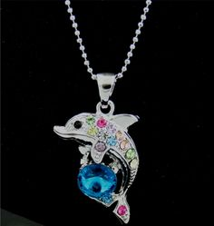 """Circular Shape Dolphin and Wave Pendant with Aqua Blue Crystals and 16/"""" Chain"""