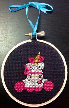 "3"" It's So Fluffy Unicorn Cross Stitch Decorative Hoop on Etsy, $18.00"