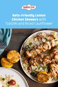 If you're looking to add a little zing into your next dish, check out this filling, flavor-packed recipe: Lemon Chicken Skewers with Tzatziki and Bird's Eye Riced Cauliflower. Tap this pin for the recipe! Chicken Skewers, Marinated Chicken, Lemon Chicken, Homemade Tzatziki Sauce, Skinny Recipes, Keto Recipes, Riced Cauliflower, Quick Easy Meals, The Help