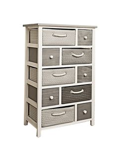 White REBECCA VIMINI chest of drawers with 5 wooden drawers and 5 coloured wicker drawers with rope handles in a shabby-chic vintage style (Cod. RE4324): Amazon.co.uk: Kitchen & Home