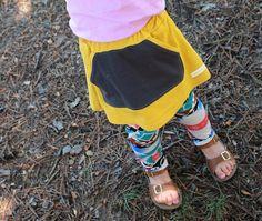 Mustard Yellow Girls Skirt.Kanga Pocket.Kids by HappyCampersShop