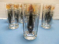 Atomic Tumbler Highball Glasses Black and Gold  by MarieWarrenArts