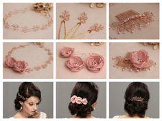 bridal hair comb wedding hair piece rhinestone crsystal pearl gold silver rose gold tiara hair accessory flowers pink blush wreath pins halo hair vine hair style ideas