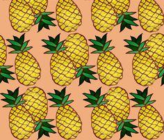 ananas fabric by nalo_hopkinson on Spoonflower - custom fabric. With aqua or mint