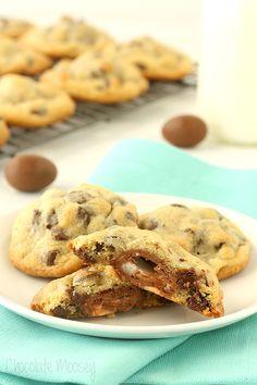 creme egg stuffed chocolate chip cookies