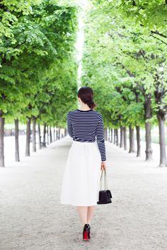 walking down tree-lined pathways