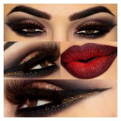Eye make up for red bold lip. ❤ liked on Polyvore featuring beauty products, makeup and lip makeup