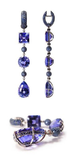 "VLAD GLYNIN jewellery - Earrings ""Sequence"", 2011. White gold, tanzanites, sapphires, diamonds. / Серьги «Последовательность», 2011 г. Белое золото, танзаниты, сапфиры, бриллианты. / Orecchini «Sequenza», 2011. Oro bianco, tanzaniti, zaffiri, diamanti. - jewelry, jadau, bridal, south, swarovski, teen jewellery *ad"