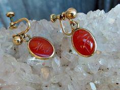 Van Dell Gold Filled Carnelian Scarab Earrings by postGingerbread