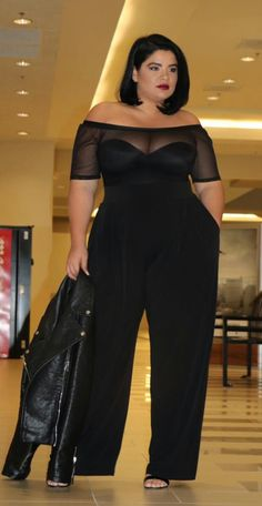 Sexy Summer Women Suit Two 2 Piece Set Off Shoulder Slash Neck See-through Solid Romper Jumpsuit+Split Wide Leg Loose Pants. Vestidos Plus Size, Plus Size Dresses, Plus Size Outfits, Curvy Outfits, Girl Outfits, Fashion Outfits, Modelos Plus Size, Plus Size Jumpsuit, Looks Plus Size