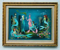 Mermaids and shrimp sea monkey by El Gato Gomez Mermaid Beach, Mermaid Art, Sea Monkeys, Tiki Art, Mermaids And Mermen, Vintage Mermaid, Modern Art Deco, Retro Illustration, Illustrations