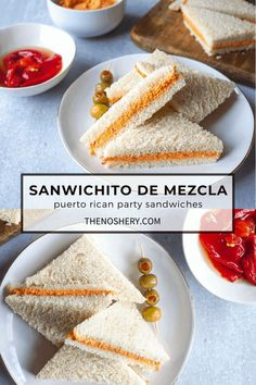 It's not a party in Puerto Rico without a hearty, cheesy sandwich de mezcla. Soft bread filled with a tasty spread makes for an easy party plate! Sandwich Platter, Sandwich Spread, Puerto Rican Dessert Recipe, Appetizer Recipes, Dessert Recipes, Appetizers, Puerto Rico Food, Coconut Pudding, Party Sandwiches