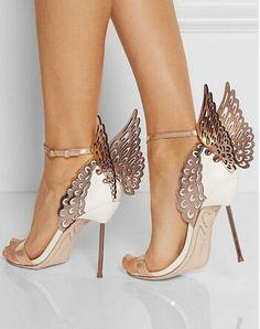 Novità del 2015 nome di marca bianco e rosa in pelle oro spirited angelo  ali sandali d142932cde4