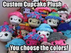 I Would Like a Custom Cupcake Plush by rengawk on Etsy (Art & Collectibles, Fiber Arts, Crochet, cupcake plush, cupcake plushie, kawaii mascot, crochet cupcake, cute cupcake, happy cute, computer helper, resolution reminder, cute gift, kawaii plush)