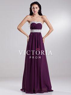 Purple A-Line Long Chiffon Sweetheart Empire Open Back Prom Dress - US$ 112.99 - Style P1329 - Victoria Prom