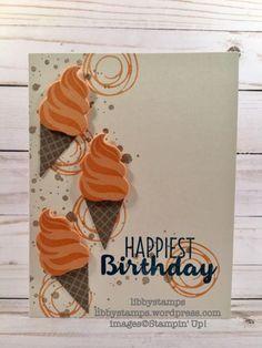 libbystamps, stampin up, Cool Treats, Swirly Bird, Frozen Treats Framelits, ice cream, CCMC444