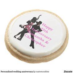 Personalized wedding anniversary round shortbread cookie