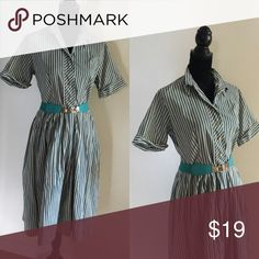 """Vintage Teal and beige stripped dress Cute Vintage Teal and beige stripped dress perfect for day to day wear!  Size:M Bust:34""""-35"""" Waist:29""""-32"""" Vintage Dresses"""