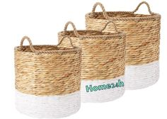 Home24h co,.ltd: Water Hyacinth Round Basket With Rope Handle