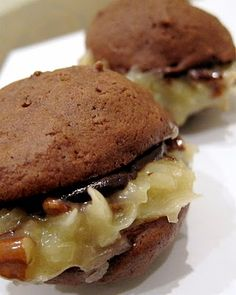 German Chocolate Whoopie Pies - cookies, german chocolate filling, and ...