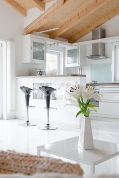 View in the kitchen #kitchen #bar #scandinavia #whiteinterior #interior